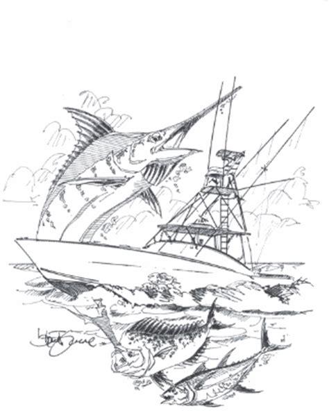 sport fishing boat artwork sport fishing boat drawings