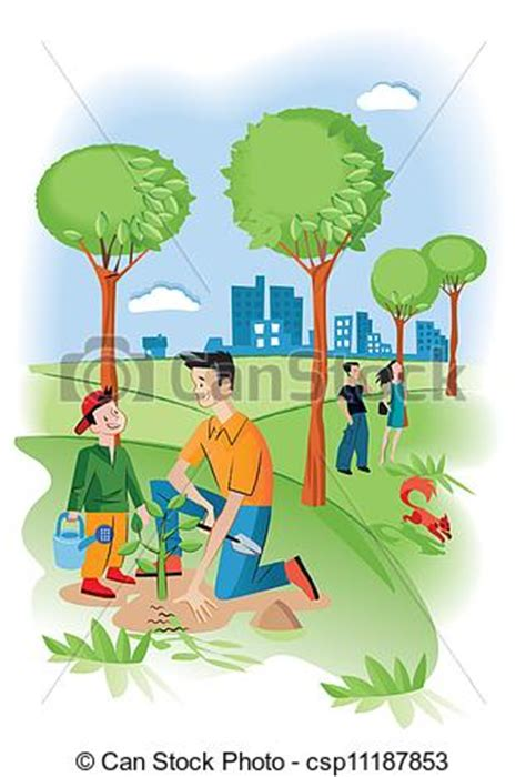 clipart vector of child with his father planting a