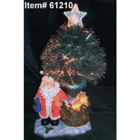 homebrite 18 quot fiber optic christmas tree w santa ornament