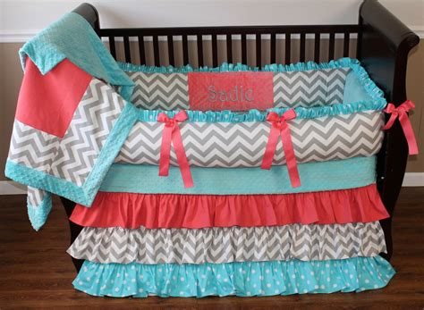 Coral Color Crib Bedding Coral And Turquoise Nursery Bedding Popular Chevron Crib Bedding 12 Color Ideal Chevron Crib