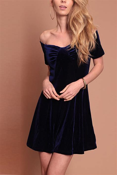 dark blue  shoulder velvet sexy   dress