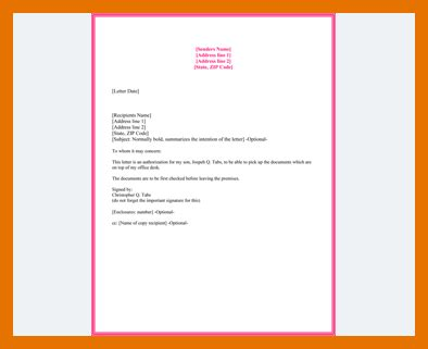 authorization letter format collect cheque book 8 authorizatiin letter to collect cheque book