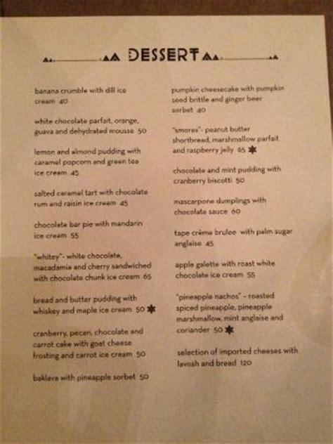 dessert menu picture of skye bar & restaurant, jakarta