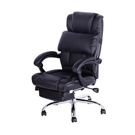 height adjustable recliner chair recliner office chair pu leather black luxury reclining