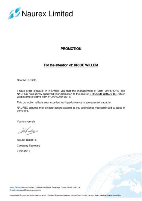 Promotion Letter Mail Krige W Promotion Letter Naurex Limited 1