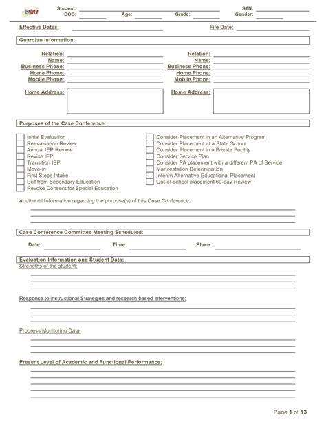 best photos of printable iep form blank iep form template sle iep template and printable