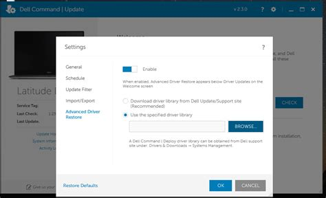 reset bios using cmd advanced driver restore using dell command update dell us