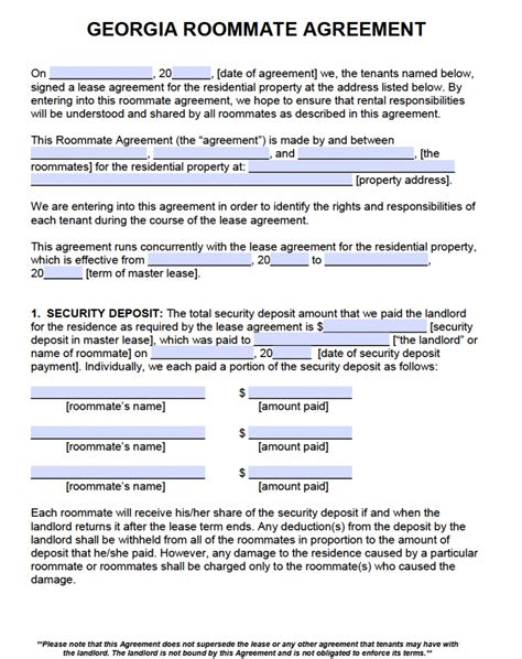 free georgia gross commercial lease agreement pdf word free georgia roommate agreement template pdf word