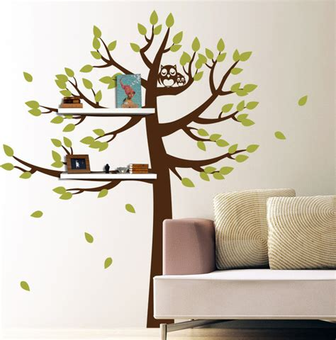 tree wall sticker with shelves shelving tree with owls contemporary wall decals new