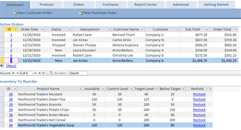 product inventory database template for access access