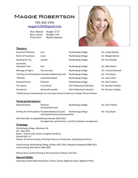 beginning actor resume theatre resume template word sample acting