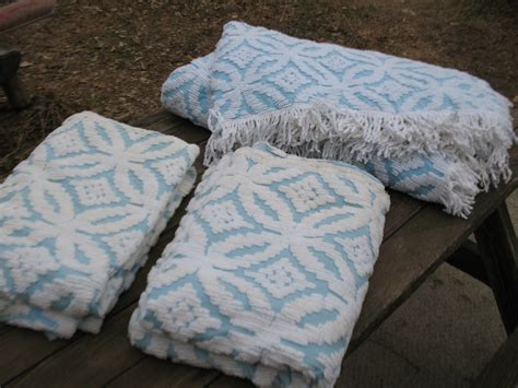 bedspreads with matching drapes vintage blue cotton chenille full queen bedspread matching
