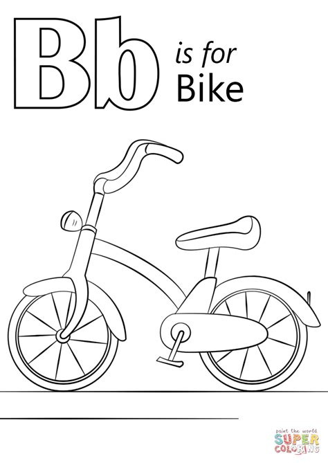 bicycle coloring pages preschool letter b is for bike coloring page free printable