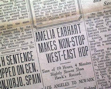 Flight Records Amelia Earhart S 1932 Record Flight Rarenewspapers