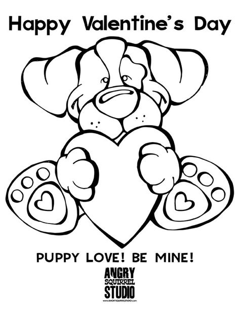 valentines day coloring pages with dogs free coloring page puppy love be mine happy valentine s