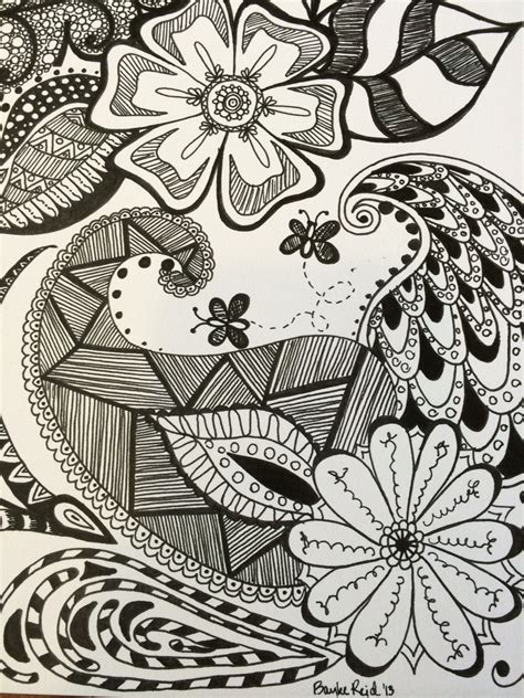 doodle drawings to print floral doodle zentangle print