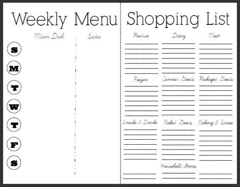 blank meal plan and grocery list 7 essential menu planning tips and free menu and recipe