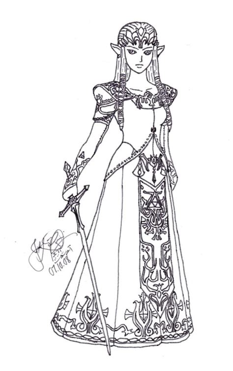 princess zelda coloring pages photo 66056 lineart zelda