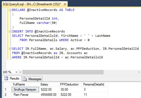Select Into Table Variable table variable in sql server tech funda