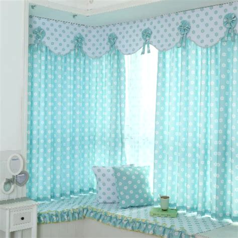 Baby Blue Curtains For Nursery Baby Blue And White Floral Print Polyester Bay Window Curtains For Room Or Nursery