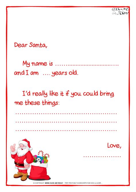 ready letter to santa claus template less text santa