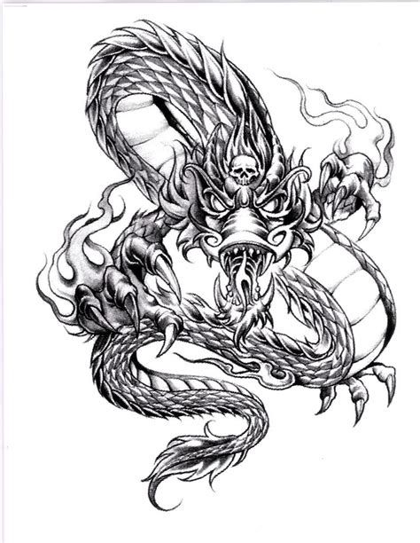 dragon tattoo drawing awesome stencil outline pictures to pin on