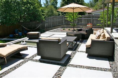 Backyard Landscaping Ideas On A Budget Concrete Modern Patio Denver By Bloom Concrete