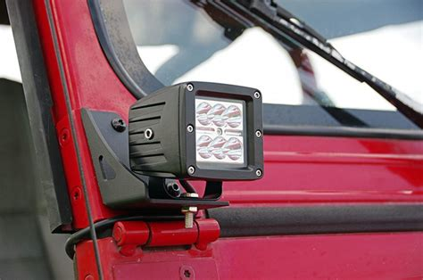 jeep tj windshield lights lower windshield light mounts for 87 95 jeep yj wrangler