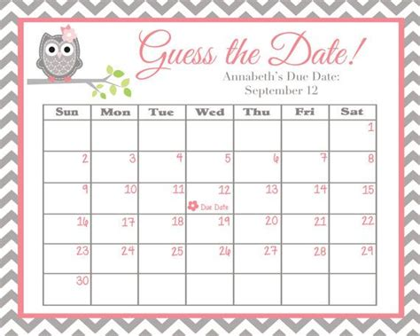 Guess Date guess the date pink and grey owl baby shower
