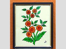 A beautiful glass painting of flowers in full bloom-Online ... Easy Flower Designs For Glass Painting