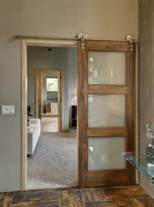 furniture sliding clear glass barn doors with brown