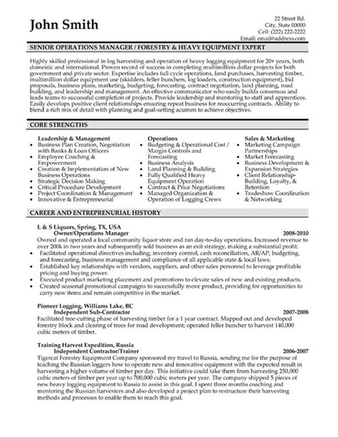 senior operations manager resume template premium resume sles exle