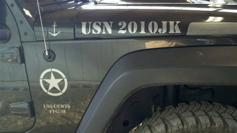 jeep wrangler military decals product jeep wrangler army usa says usn ssf 38 uss curts