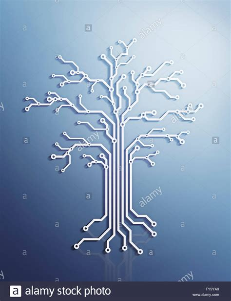 Electronic Tree - digital tree made of electronic circuits conceptual