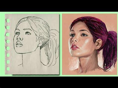 xomo sombrear la cara de una mujer como dibujar la cara levantada femenina explicado youtube