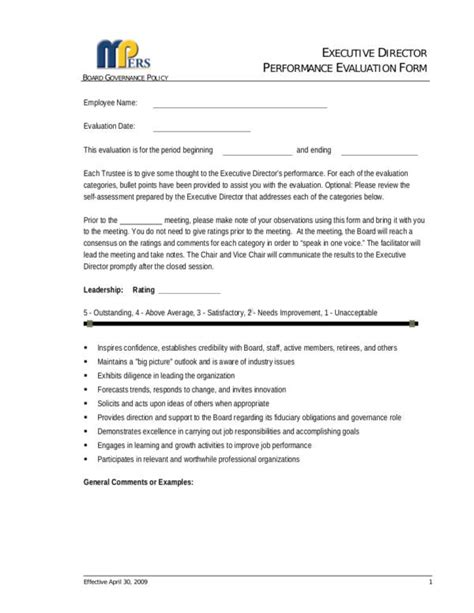 What Is An Employee Evaluation Form Sle Templates Executive Director Review Template