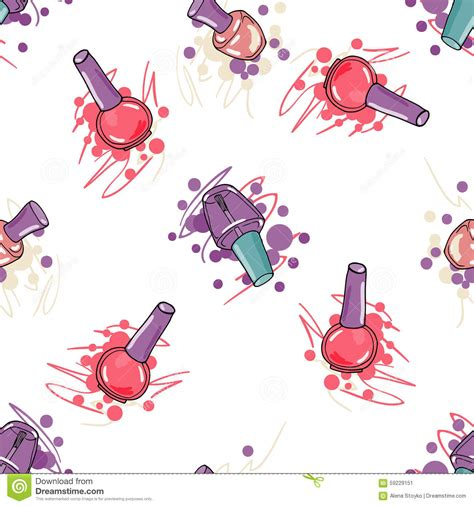 pattern fashion vector seamless pattern with nail polish stock vector image