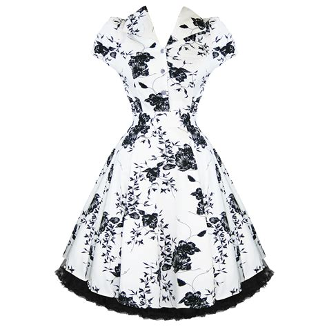 swing tea dress ladies white floral vintage 50s retro rockabilly party