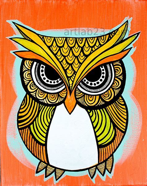 tribal pattern owl art print 8x10 orange indian by artlab23