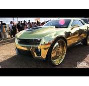 """Crazy Camaro ZL1 """"King"""" All Gold On 30 Inch Wheels"""