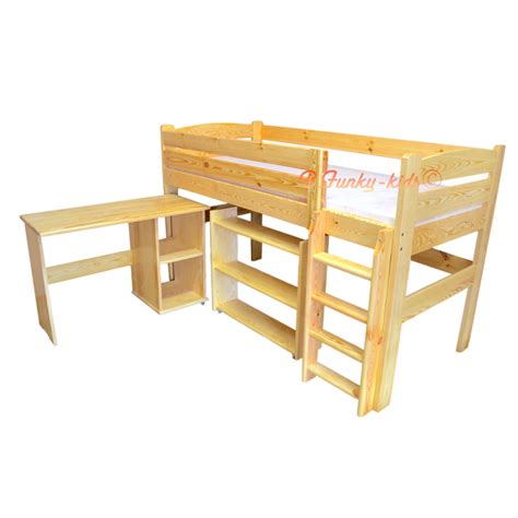 mid sleeper with desk and futon loft bed mid sleeper bed with desk and shelves bella 200x90 cm