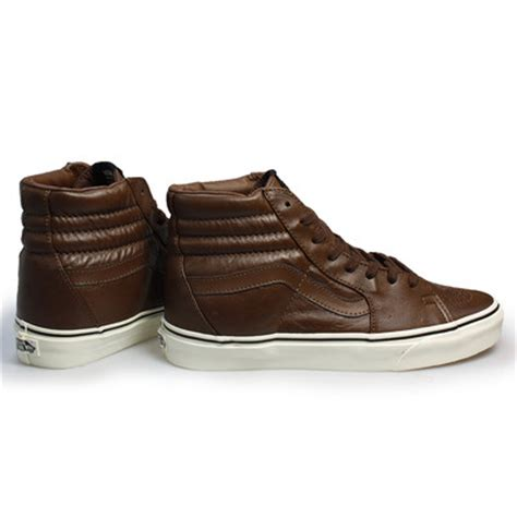 vans sk8 brown hi top leather mens sneakers trainers size