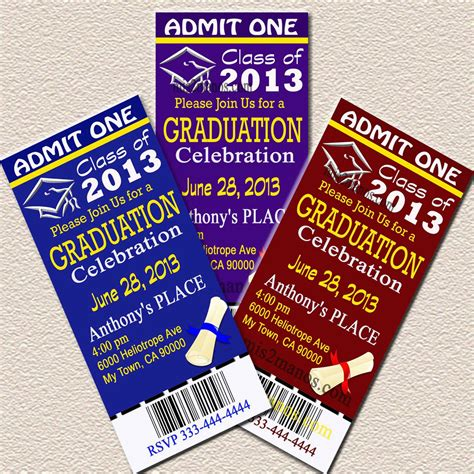 free printable graduation tickets graduation ticket invites your school colors diy printable