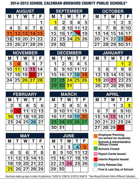 School Calendar 2015 Broward County Fl School Calendar 2014 2015