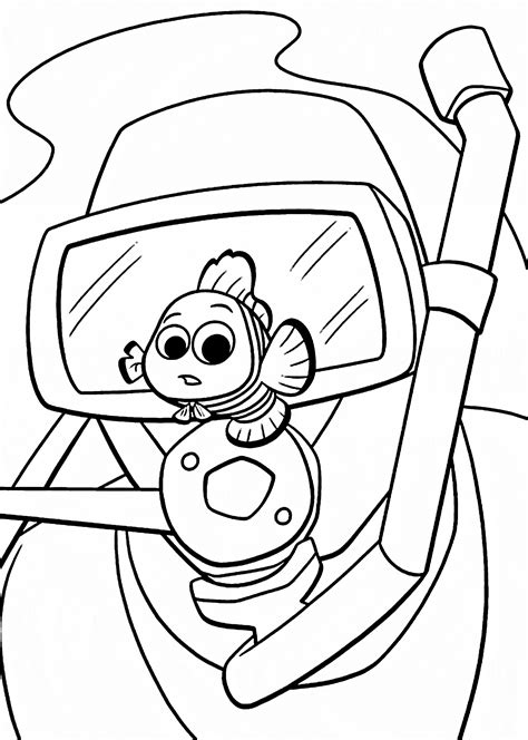 finding nemo coloring pages with man for kids printable