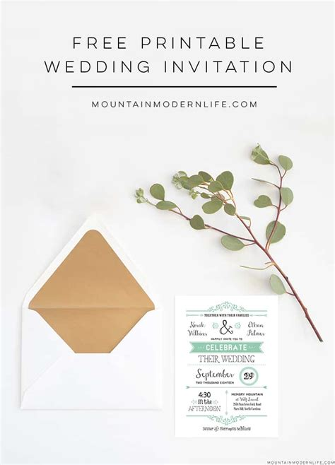 Free Wedding Invitation Template Mountainmodernlife Com Printable Invitation Templates Free