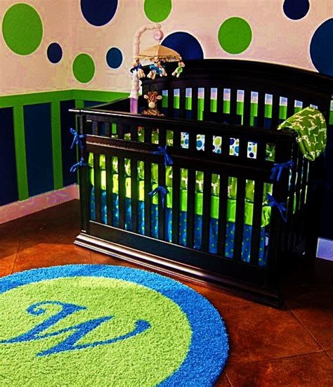 Initial Rugs Nursery by Bright Blue Lime Green Boys Nursery With Custom Initial