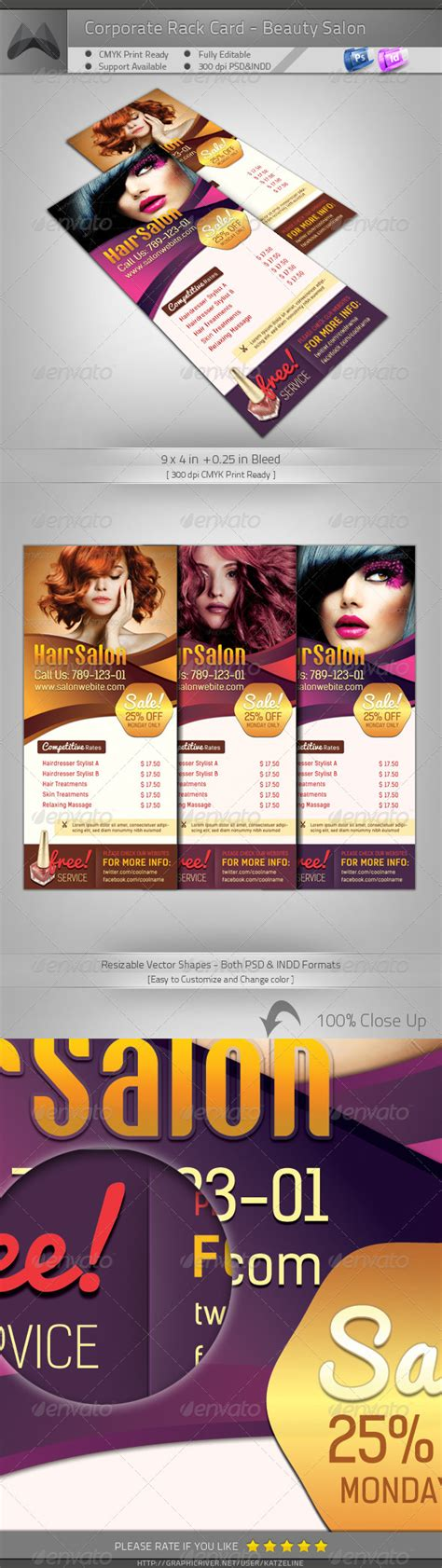 4 x 9 rack card with bleed psd template corporate rack card salon graphicriver