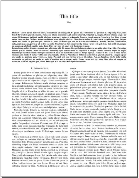 template for ieee paper format in word ieeetran ieee one column two column elements in