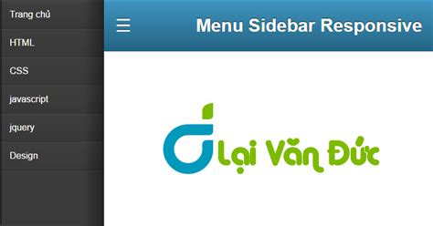 html responsive layout with content wrapping a sidebar tự code menu sidebar responsive